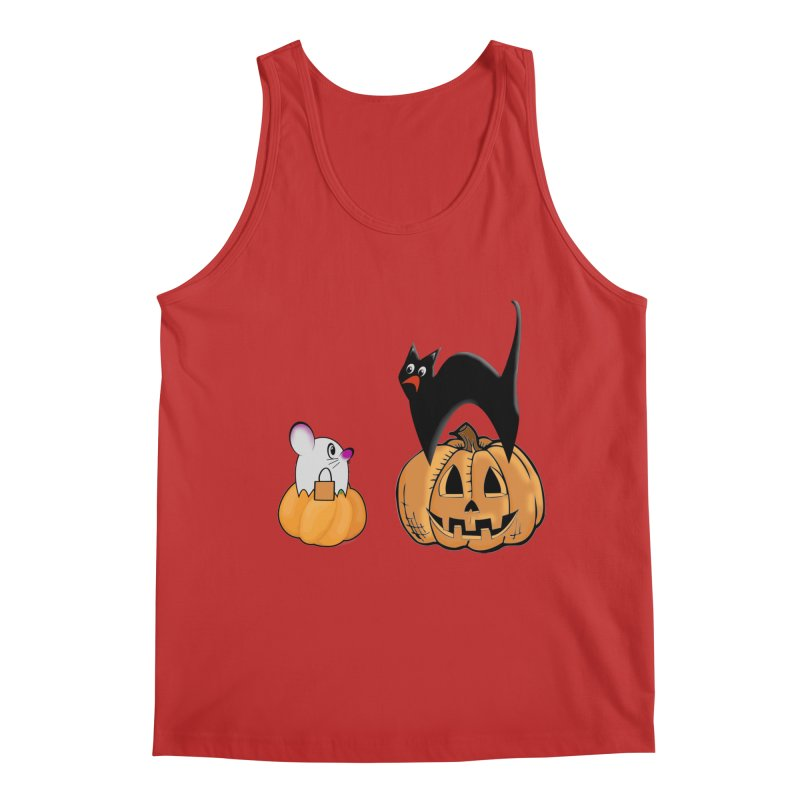 Scared Halloween cat and mouse on pumpkins Men's Regular Tank by Make a statement, laugh, enjoy.