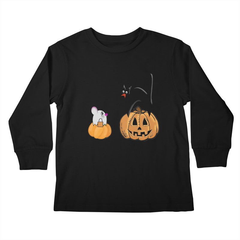Scared Halloween cat and mouse on pumpkins Kids Longsleeve T-Shirt by Sporkshirts's tshirt gamer movie and design shop.