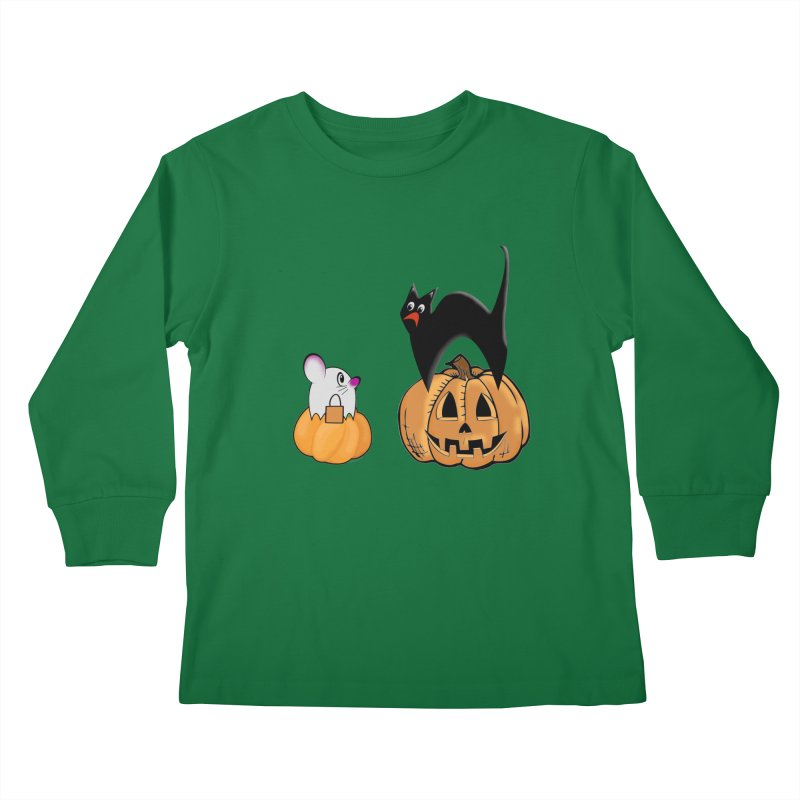 Scared Halloween cat and mouse on pumpkins Kids Longsleeve T-Shirt by Make a statement, laugh, enjoy.