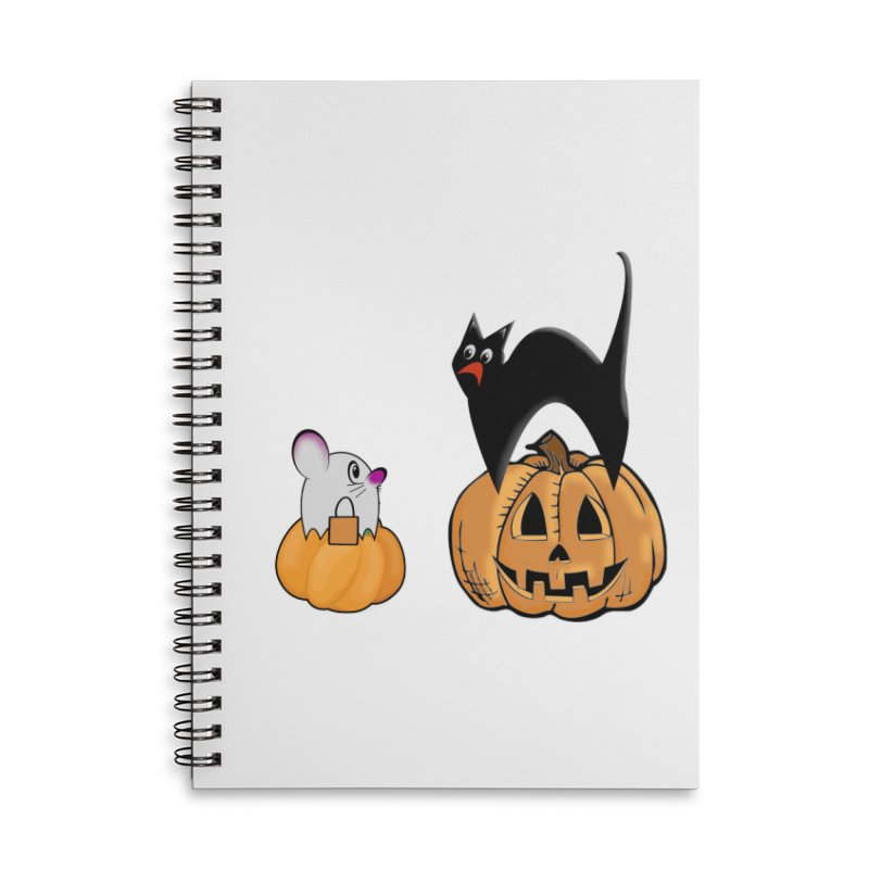 Scared Halloween cat and mouse on pumpkins Accessories Lined Spiral Notebook by Make a statement, laugh, enjoy.
