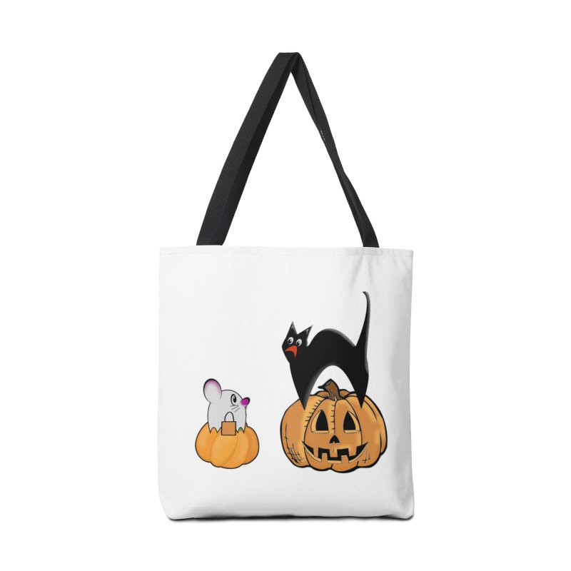 Scared Halloween cat and mouse on pumpkins Accessories Tote Bag Bag by Make a statement, laugh, enjoy.