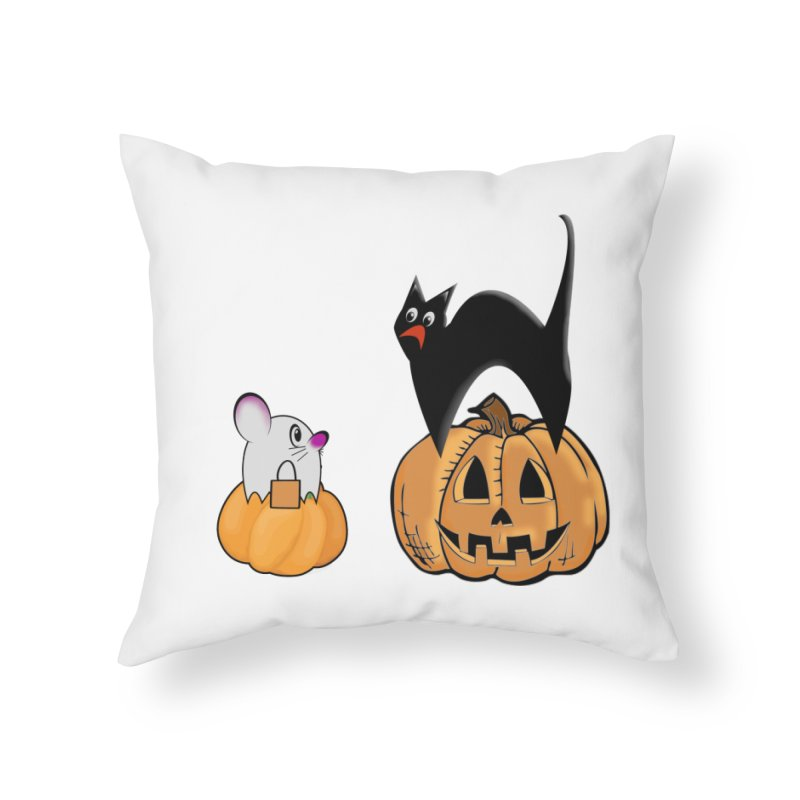 Scared Halloween cat and mouse on pumpkins Home Throw Pillow by Sporkshirts's tshirt gamer movie and design shop.