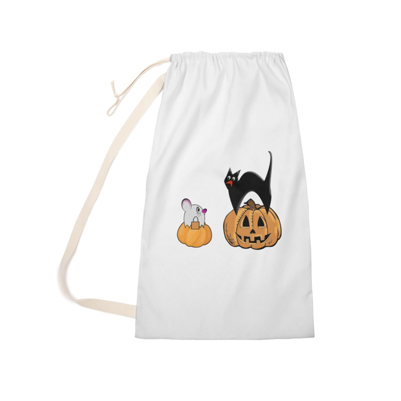 Scared Halloween cat and mouse on pumpkins Accessories Laundry Bag Bag by Make a statement, laugh, enjoy.