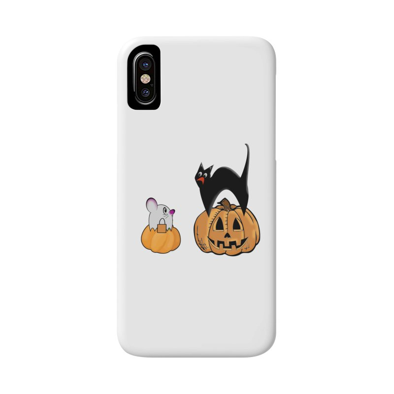 Scared Halloween cat and mouse on pumpkins Accessories Phone Case by Sporkshirts's tshirt gamer movie and design shop.