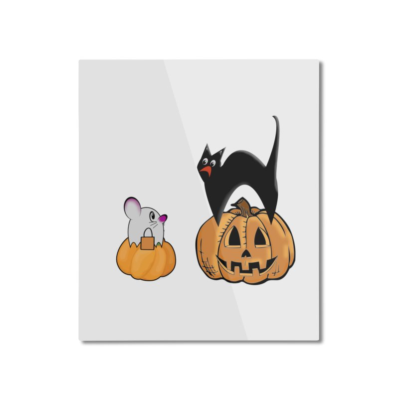 Scared Halloween cat and mouse on pumpkins Home Mounted Aluminum Print by Sporkshirts's tshirt gamer movie and design shop.