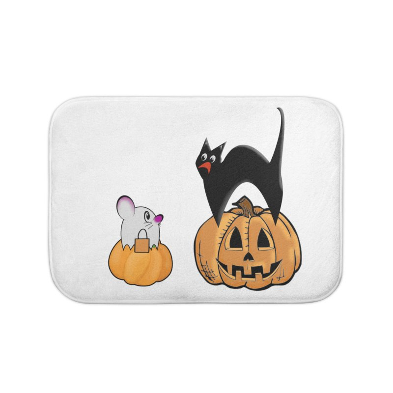 Scared Halloween cat and mouse on pumpkins Home Bath Mat by Sporkshirts's tshirt gamer movie and design shop.