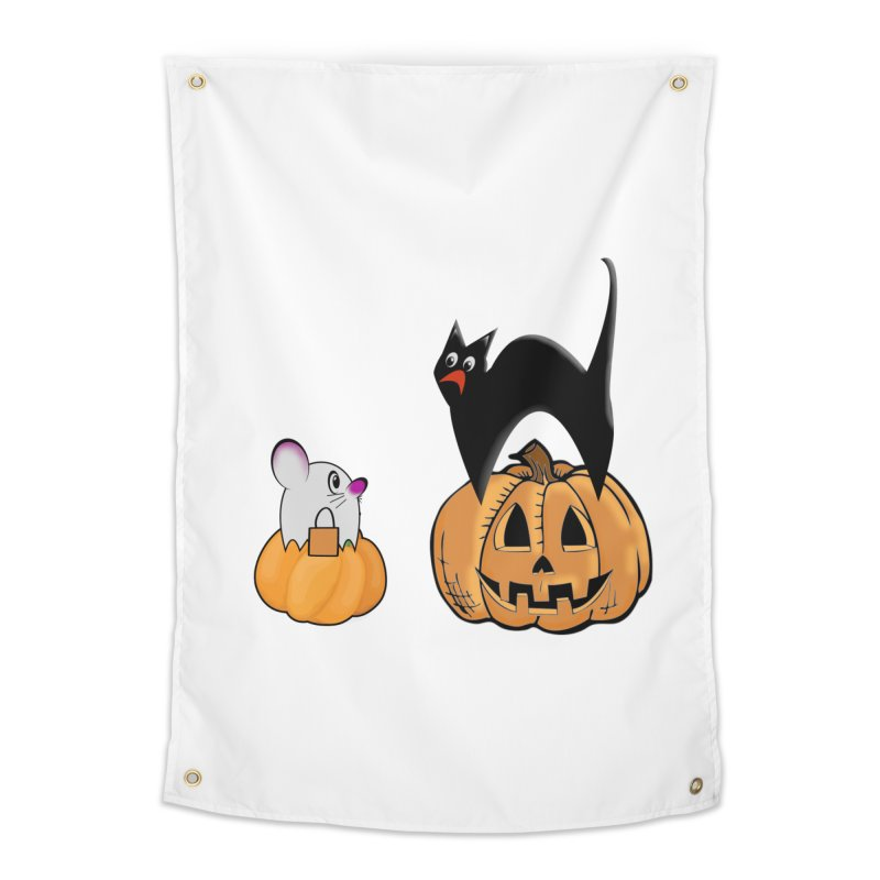 Scared Halloween cat and mouse on pumpkins Home Tapestry by Make a statement, laugh, enjoy.