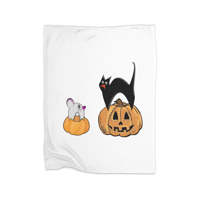 Scared Halloween cat and mouse on pumpkins Home Fleece Blanket Blanket by Sporkshirts's tshirt gamer movie and design shop.