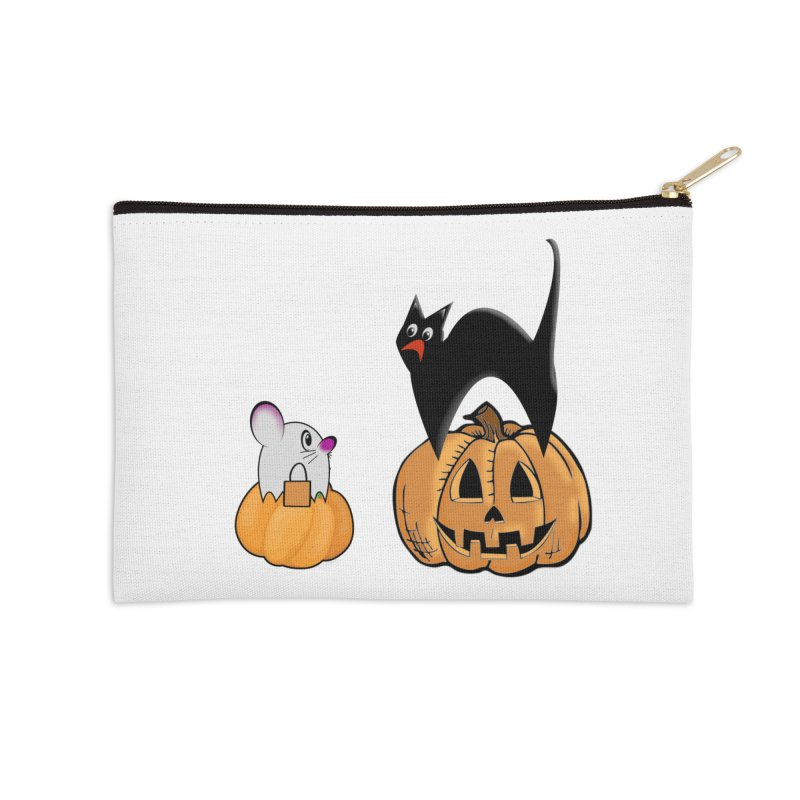 Scared Halloween cat and mouse on pumpkins Accessories Zip Pouch by Sporkshirts's tshirt gamer movie and design shop.