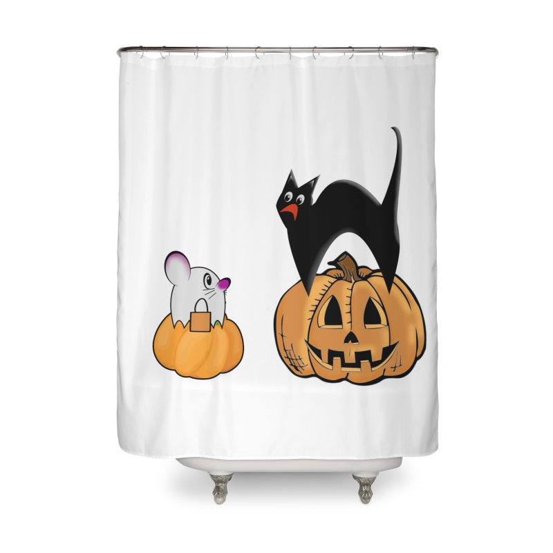 Scared Halloween cat and mouse on pumpkins Home Shower Curtain by Sporkshirts's tshirt gamer movie and design shop.