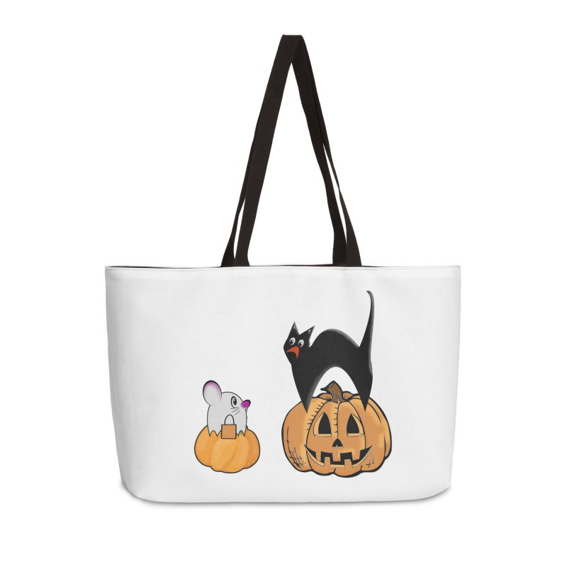 Scared Halloween cat and mouse on pumpkins Accessories Weekender Bag Bag by Sporkshirts's tshirt gamer movie and design shop.
