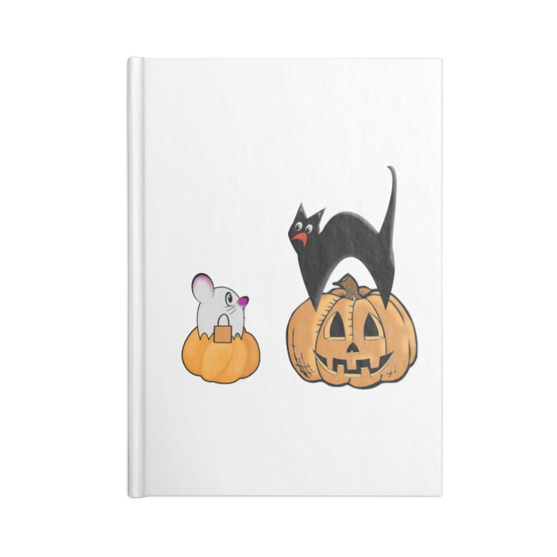 Scared Halloween cat and mouse on pumpkins Accessories Lined Journal Notebook by Make a statement, laugh, enjoy.