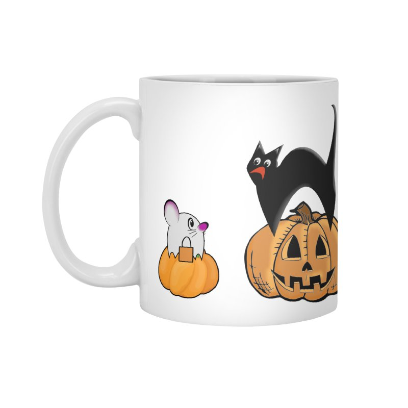 Scared Halloween cat and mouse on pumpkins Accessories Standard Mug by Sporkshirts's tshirt gamer movie and design shop.