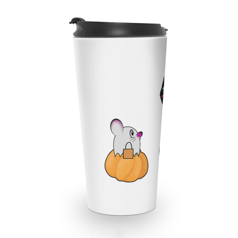 Scared Halloween cat and mouse on pumpkins Accessories Travel Mug by Make a statement, laugh, enjoy.