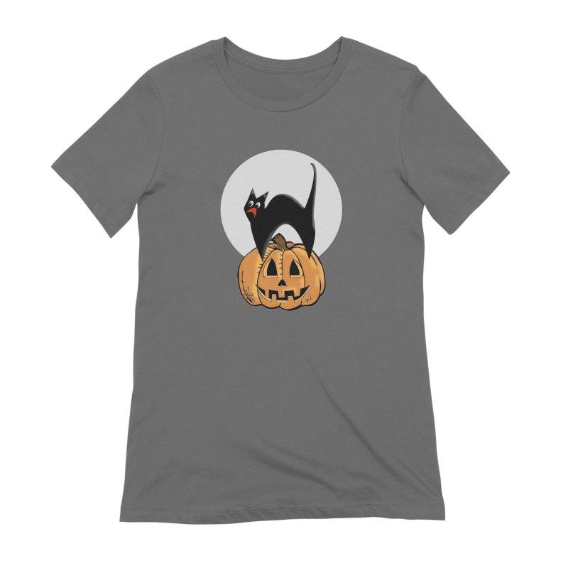 Halloween cat Women's T-Shirt by Make a statement, laugh, enjoy.