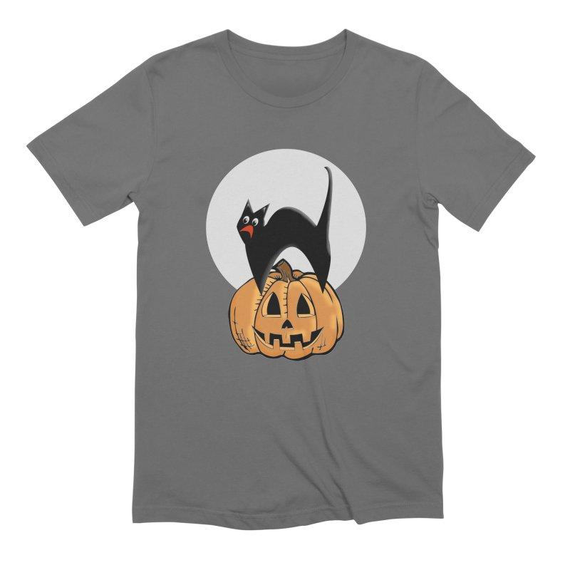 Halloween cat Men's T-Shirt by Make a statement, laugh, enjoy.