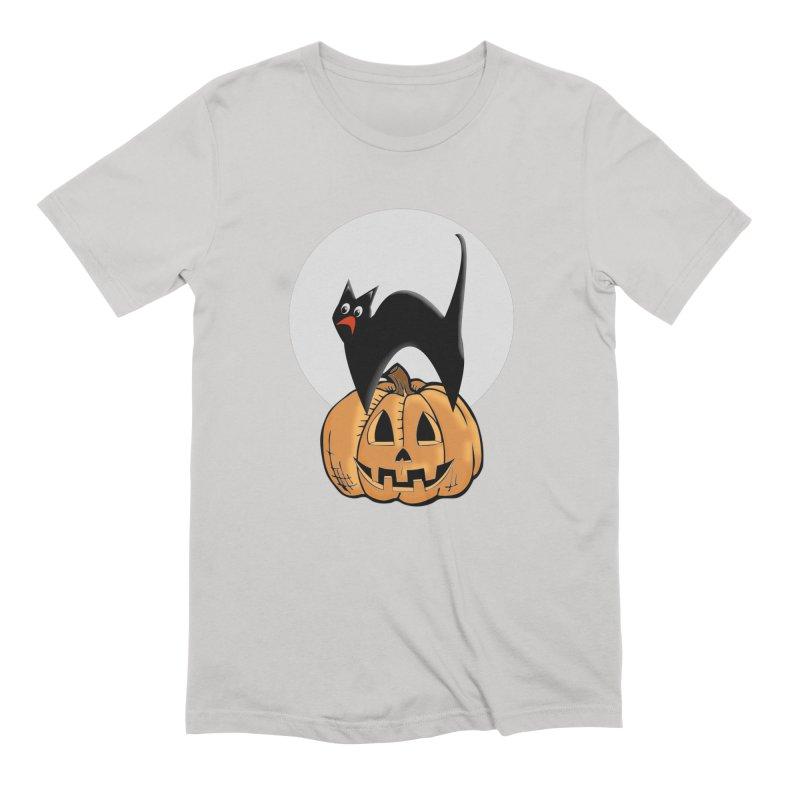 Halloween cat Men's Extra Soft T-Shirt by Sporkshirts's tshirt gamer movie and design shop.