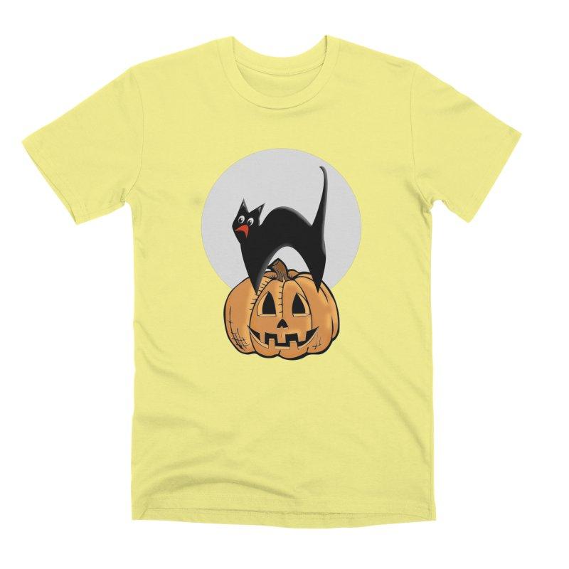 Halloween cat Men's Premium T-Shirt by Sporkshirts's tshirt gamer movie and design shop.