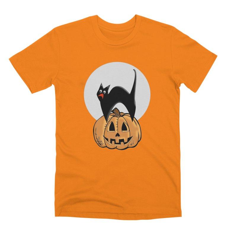 Halloween cat Men's Premium T-Shirt by Make a statement, laugh, enjoy.