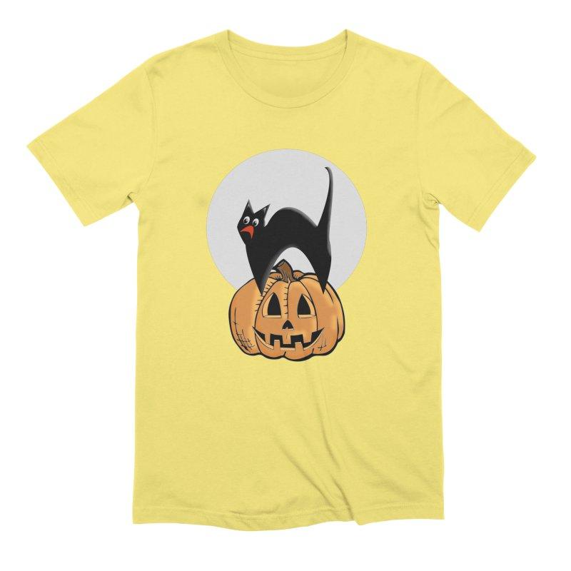 Halloween cat Men's Extra Soft T-Shirt by Make a statement, laugh, enjoy.