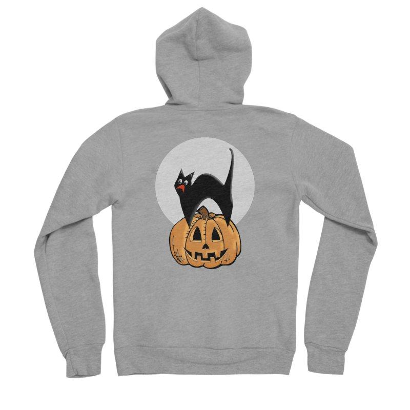 Halloween cat Men's Sponge Fleece Zip-Up Hoody by Sporkshirts's tshirt gamer movie and design shop.
