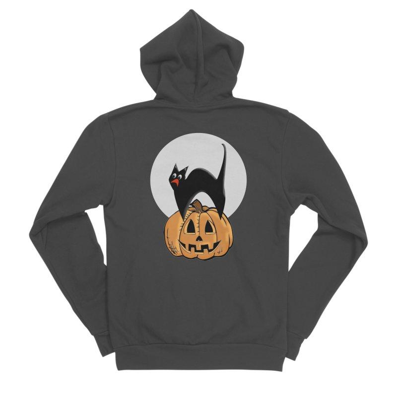 Halloween cat Men's Sponge Fleece Zip-Up Hoody by Make a statement, laugh, enjoy.