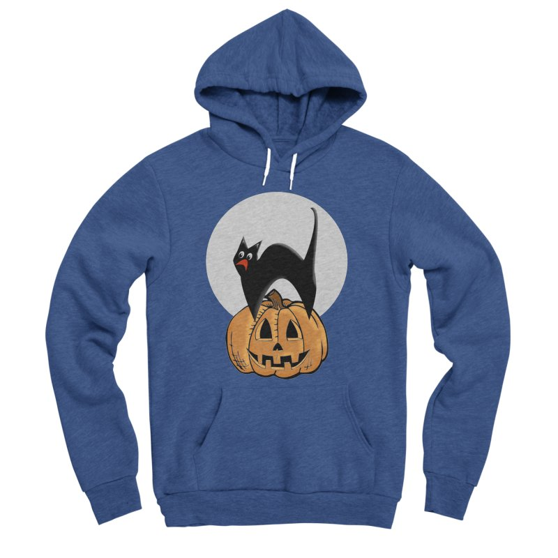 Halloween cat Women's Sponge Fleece Pullover Hoody by Make a statement, laugh, enjoy.