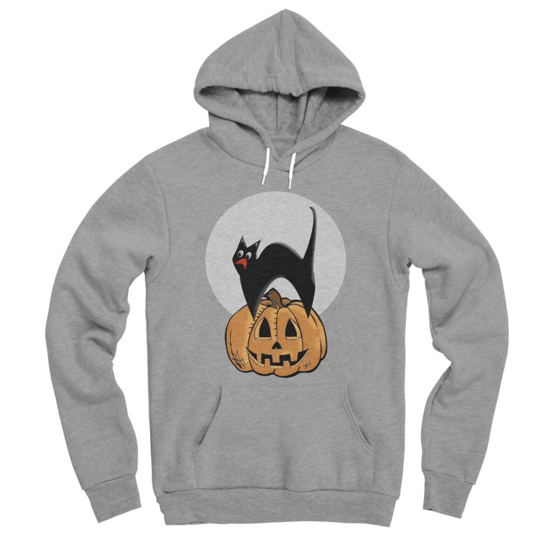 Halloween cat Men's Sponge Fleece Pullover Hoody by Make a statement, laugh, enjoy.