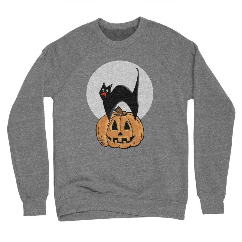 Halloween cat Men's Sponge Fleece Sweatshirt by Make a statement, laugh, enjoy.