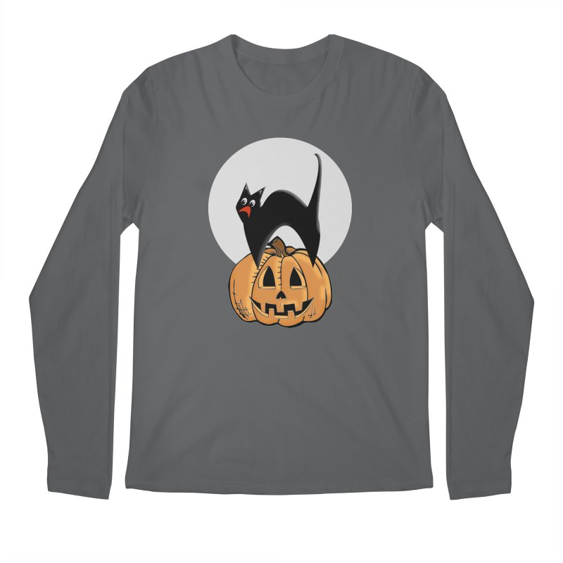 Halloween cat Men's Longsleeve T-Shirt by Make a statement, laugh, enjoy.