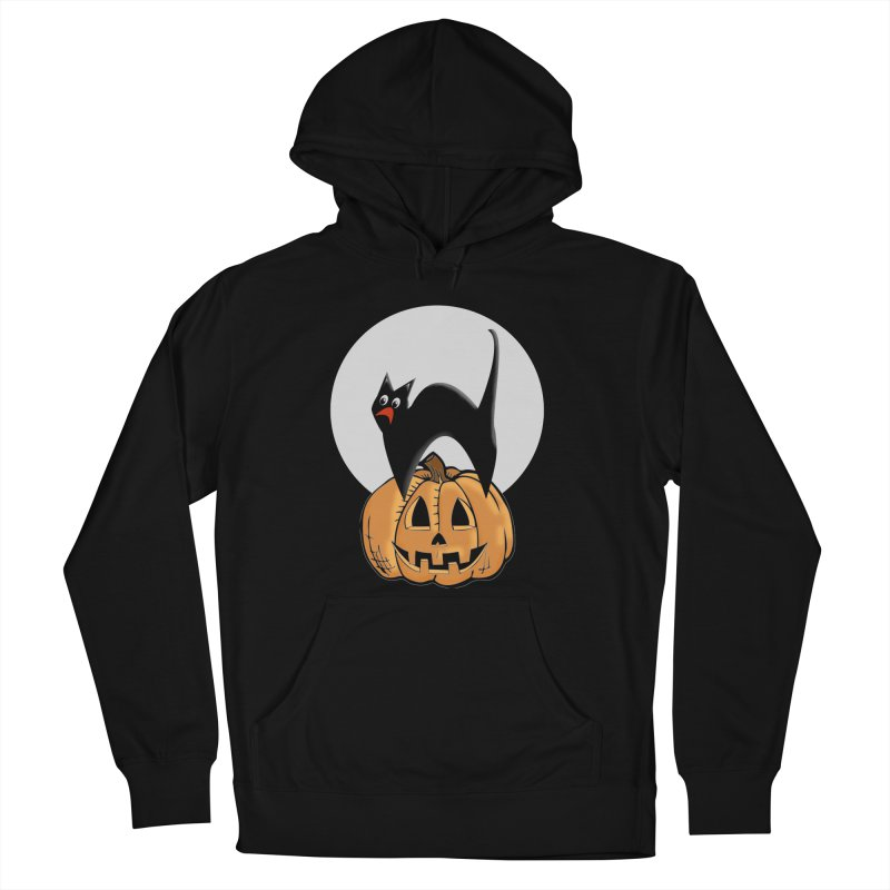 Halloween cat Women's French Terry Pullover Hoody by Make a statement, laugh, enjoy.