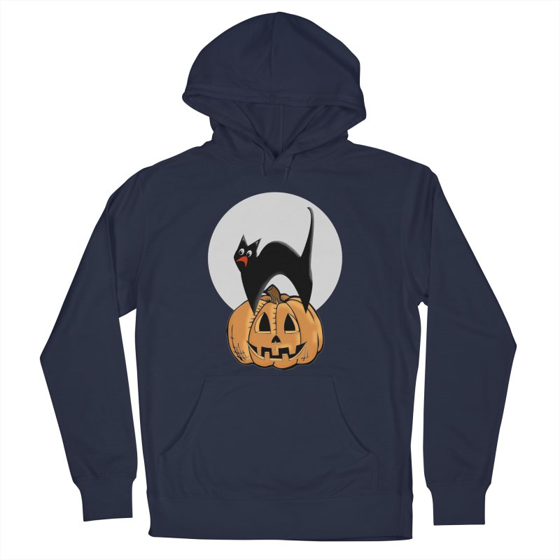Halloween cat Men's French Terry Pullover Hoody by Make a statement, laugh, enjoy.