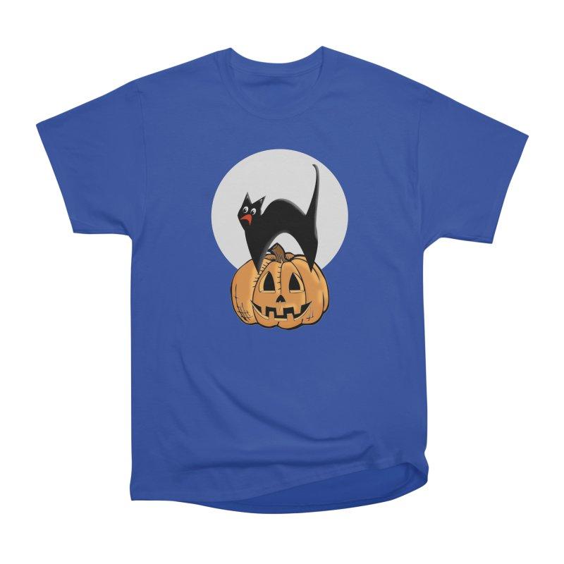 Halloween cat Women's Heavyweight Unisex T-Shirt by Make a statement, laugh, enjoy.