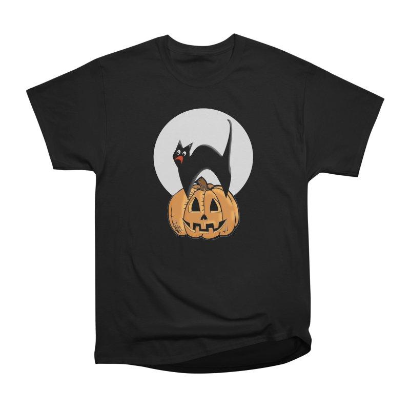 Halloween cat Men's Heavyweight T-Shirt by Make a statement, laugh, enjoy.