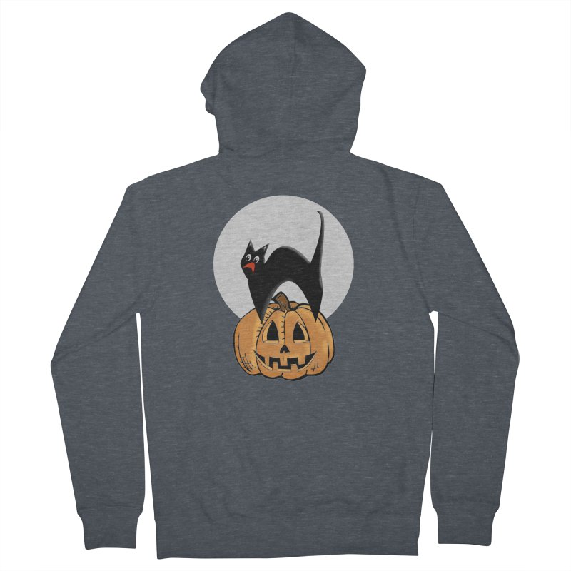 Halloween cat Women's French Terry Zip-Up Hoody by Make a statement, laugh, enjoy.