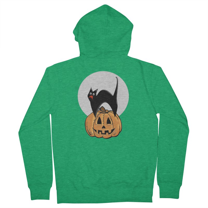 Halloween cat Men's French Terry Zip-Up Hoody by Make a statement, laugh, enjoy.