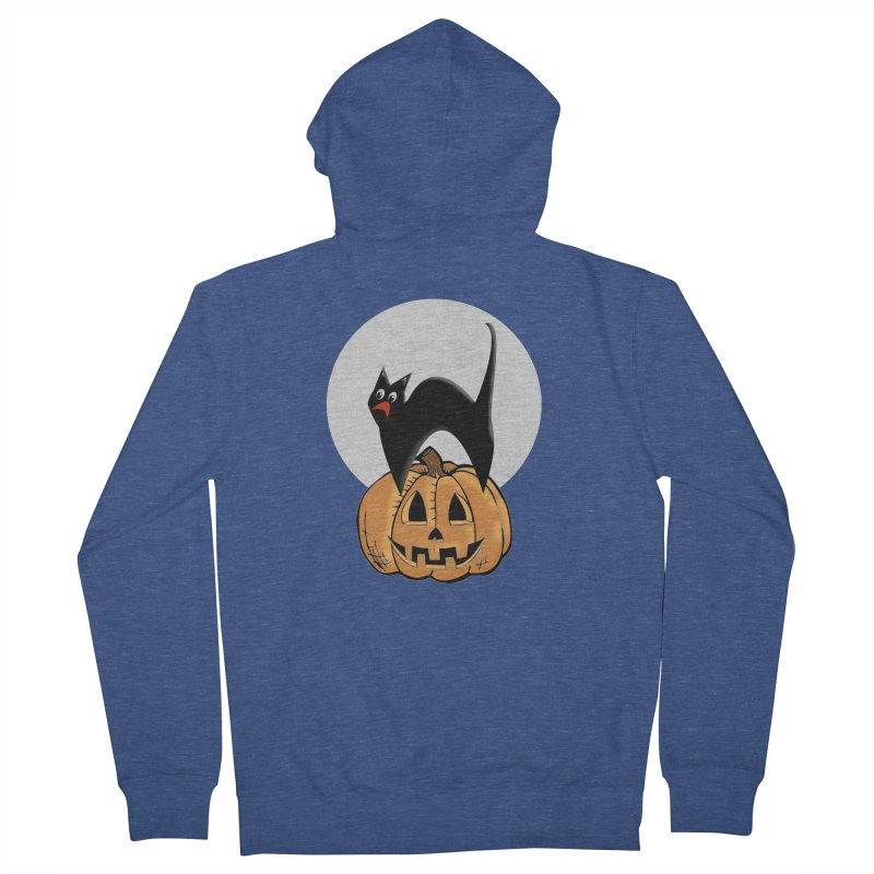 Halloween cat Men's French Terry Zip-Up Hoody by Sporkshirts's tshirt gamer movie and design shop.