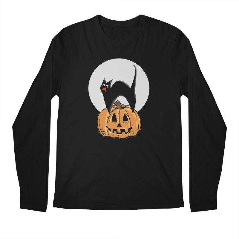 Halloween cat Men's Regular Longsleeve T-Shirt by Make a statement, laugh, enjoy.