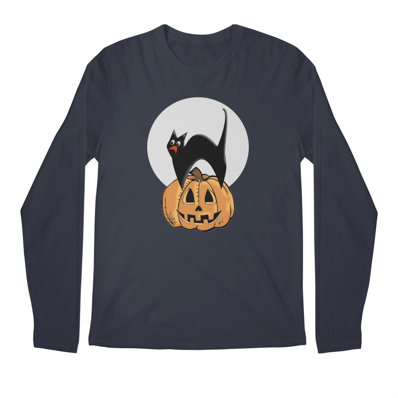 Halloween cat Men's Regular Longsleeve T-Shirt by Sporkshirts's tshirt gamer movie and design shop.
