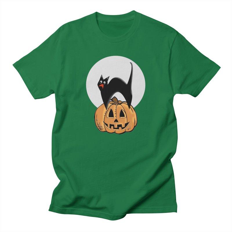 Halloween cat Women's Regular Unisex T-Shirt by Make a statement, laugh, enjoy.