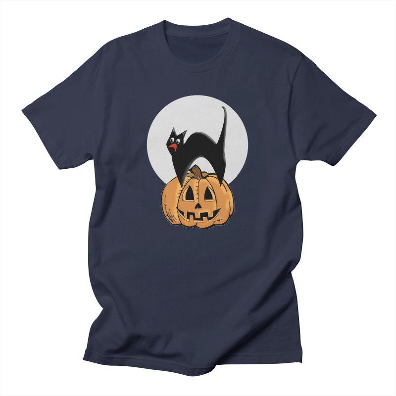 Halloween cat Men's Regular T-Shirt by Make a statement, laugh, enjoy.