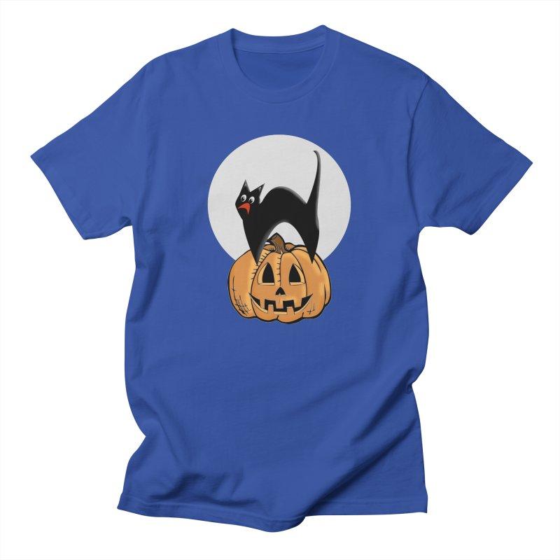 Halloween cat Women's Regular Unisex T-Shirt by Sporkshirts's tshirt gamer movie and design shop.