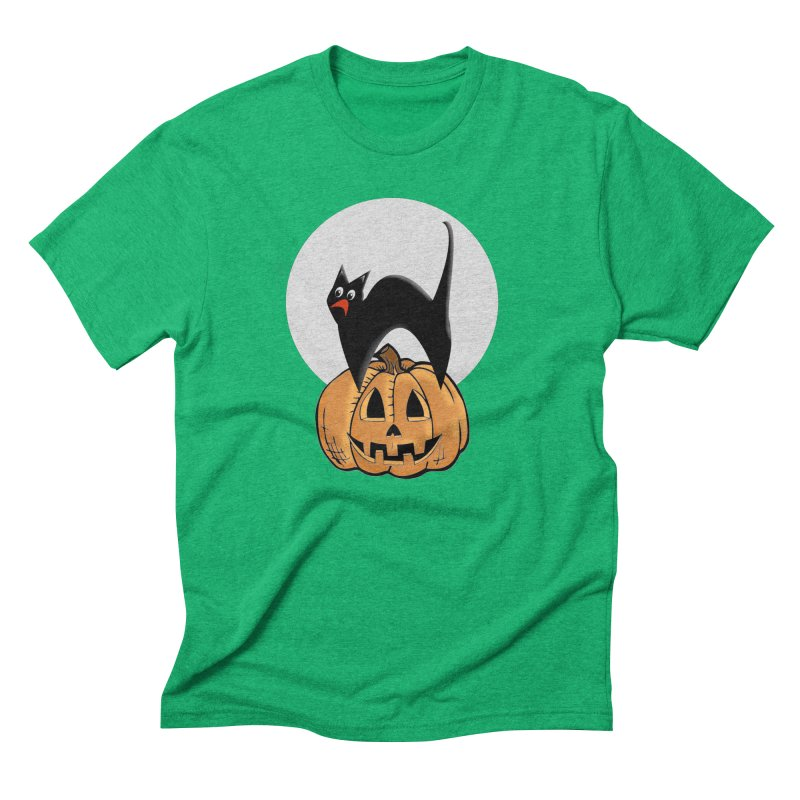 Halloween cat Men's Triblend T-Shirt by Make a statement, laugh, enjoy.