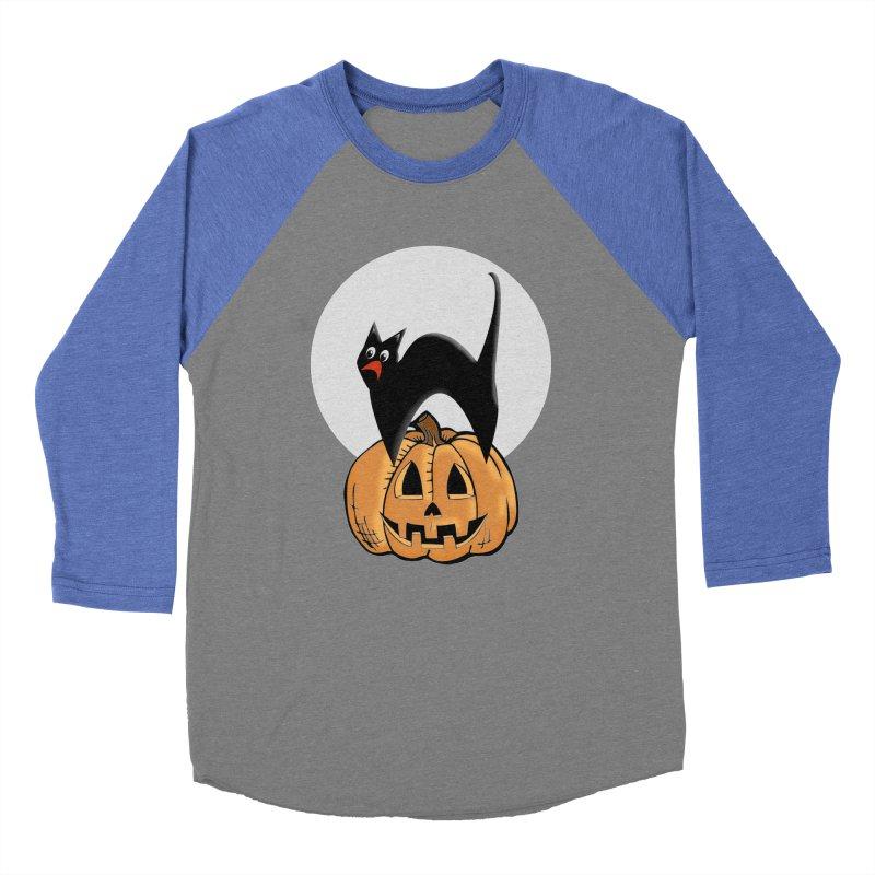 Halloween cat Women's Baseball Triblend Longsleeve T-Shirt by Make a statement, laugh, enjoy.
