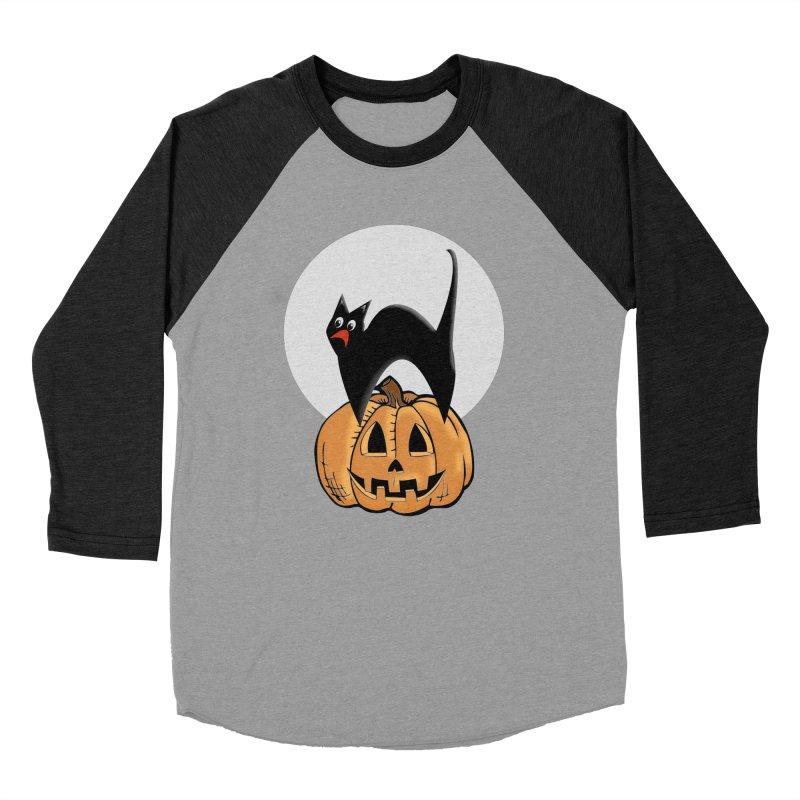 Halloween cat Women's Baseball Triblend Longsleeve T-Shirt by Sporkshirts's tshirt gamer movie and design shop.