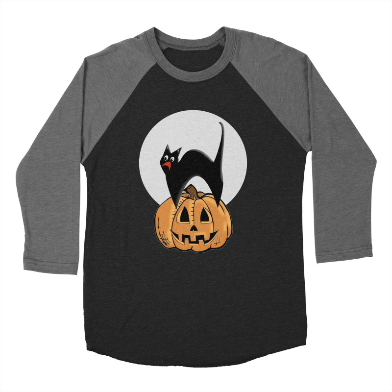 Halloween cat Men's Baseball Triblend Longsleeve T-Shirt by Make a statement, laugh, enjoy.