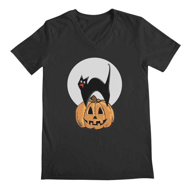 Halloween cat Men's Regular V-Neck by Make a statement, laugh, enjoy.