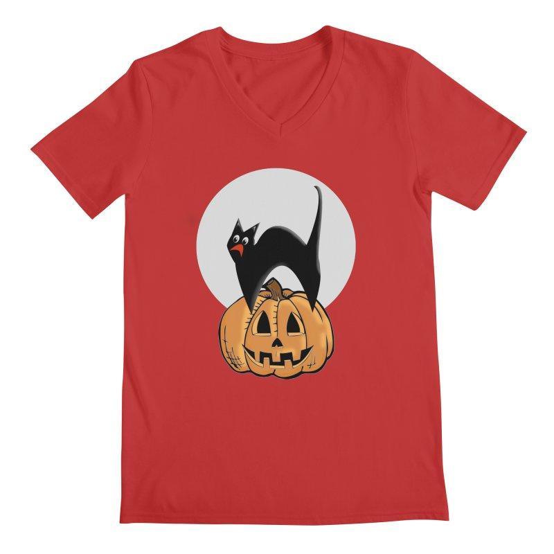 Halloween cat Men's V-Neck by Make a statement, laugh, enjoy.