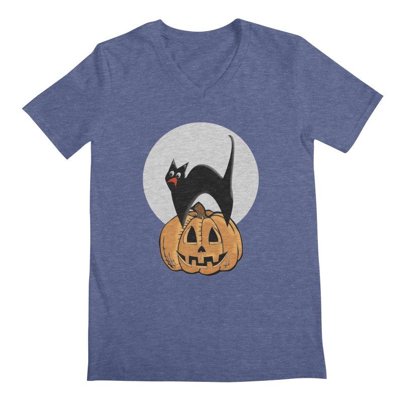 Halloween cat Men's Regular V-Neck by Sporkshirts's tshirt gamer movie and design shop.
