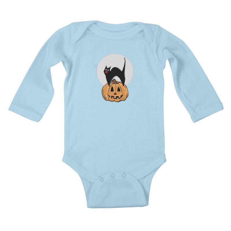 Halloween cat Kids Baby Longsleeve Bodysuit by Sporkshirts's tshirt gamer movie and design shop.